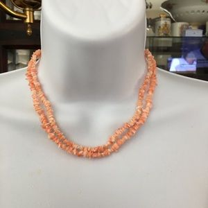 2 Natural salmon coral chip necklaces